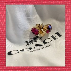NWOT - COACH Ruby Red Earrings with Dust-bag